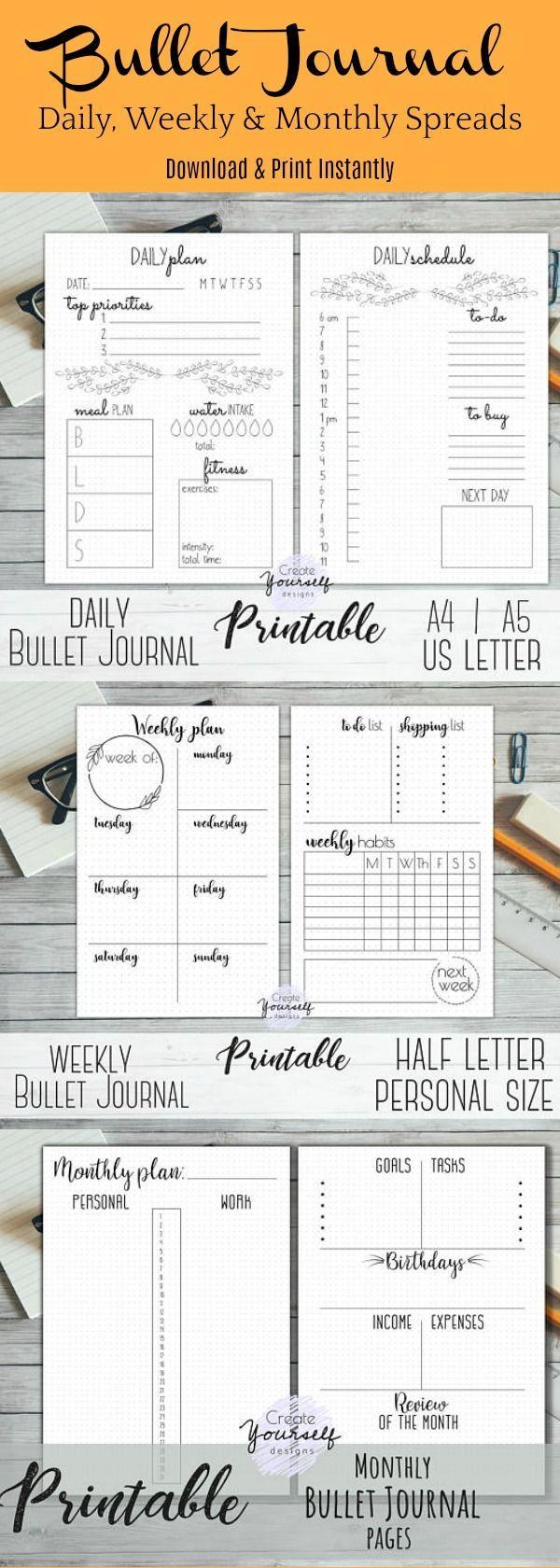 Printable bullet journal printable dot grid planner bullet