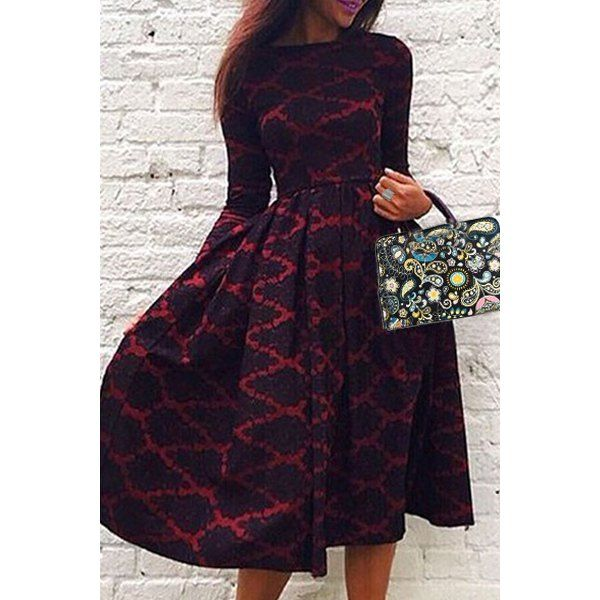 Vintage Long Sleeve Rhombus Printed High Waist Ball Gown Dress For Women