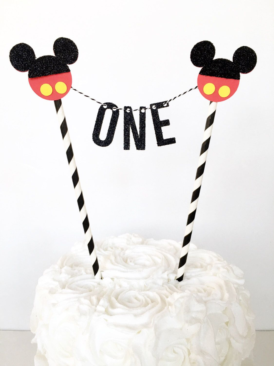 Mickey Mouse First Birthday Cake Topper Bunting Banner