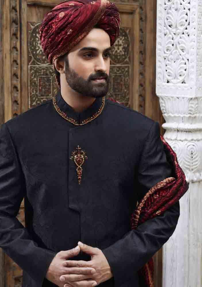 60833ee219 latest black pakistani mens wedding sherwani barat dresses 2017 with maroon  pagri or turban