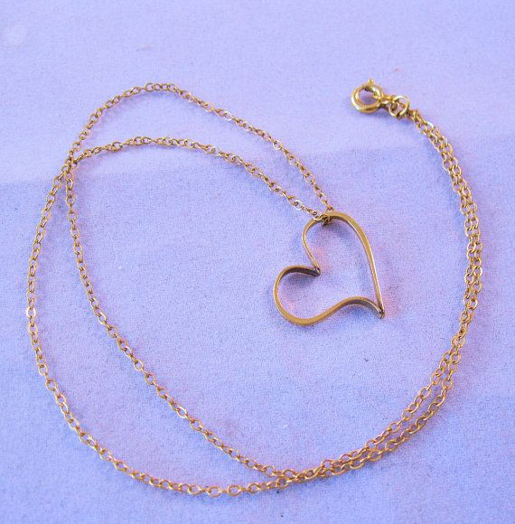 1970s Avon Floating Heart Necklace 14K Gold by BrightEyesTreasures
