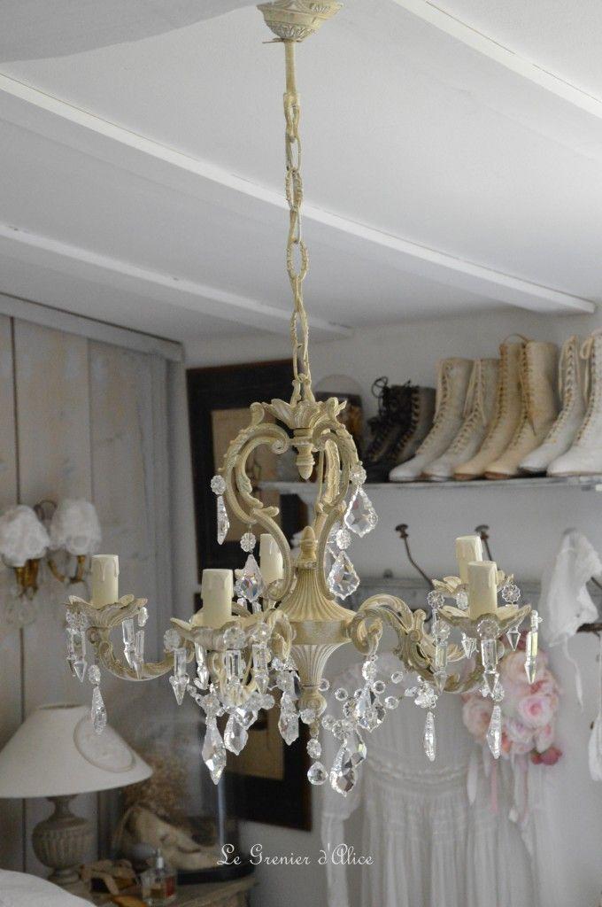 lustre cinq branches patine lin lustre shabby chic lustre pampilles cristal lustre romantique