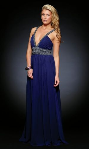Dark Blue Sheath/Column Chiffon Sequins Prom Dress PD386E