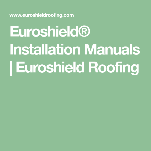 Euroshield® Installation Manuals | Installation manual ...