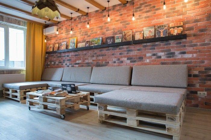 Wohnzimmer Lampe Industrieller Stil Ziegelwand Palettenmöbel #LampWohnzimmer