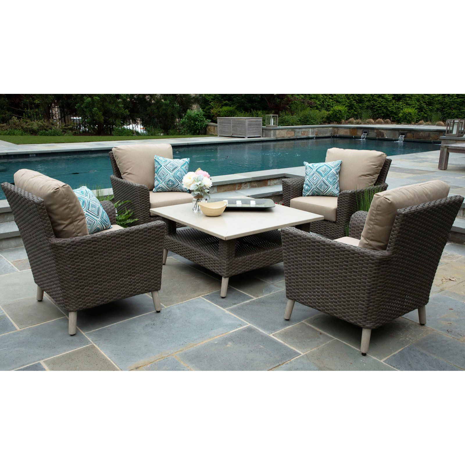 Outdoor Canopy Home and Garden Noble Resin Wicker 5 Piece ...