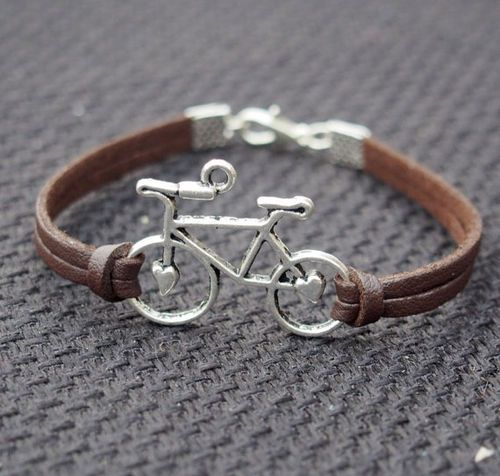 Bike Bracelet Bicycle Hearts In Silver Charm Brown Leather Single Best Gift For Friendship On Imgfave