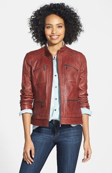 Free shipping and returns on Bernardo Four-Pocket Leather Jacket (Regular & Petite) at Nordstrom.com. A soft leather moto jacket with center-zip styling is richly detailed with channel-stitched panels and a quartet of zip pockets.