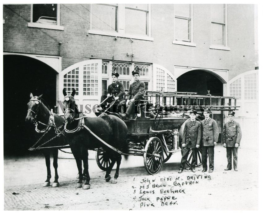 Ft. Smith Firemen with wagon.Date:1908 Photographer:Unknown :Fort Smith
