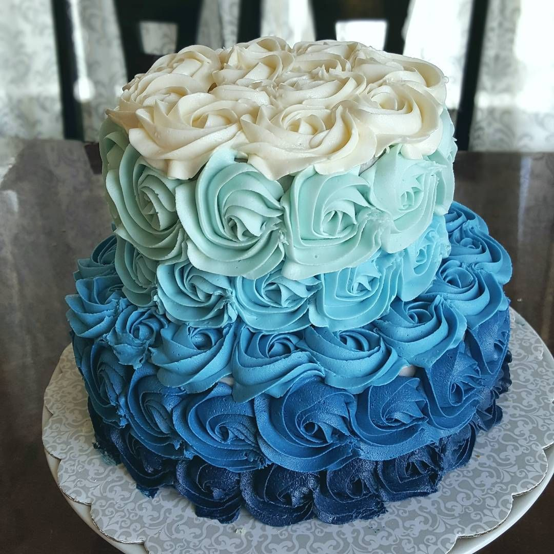 2 tiered navy ombre cake for a baby shower. Whale baby