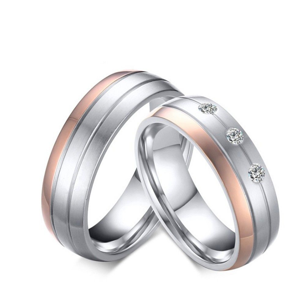 Stainless Steel Silvery Ring For Couples Rose Gold Plating Simple And Fashion Inlaid Cubic Zirconia Fluted Craft Stainless Steel Wedding Ring Titanium Wedding Rings Silvery Rings