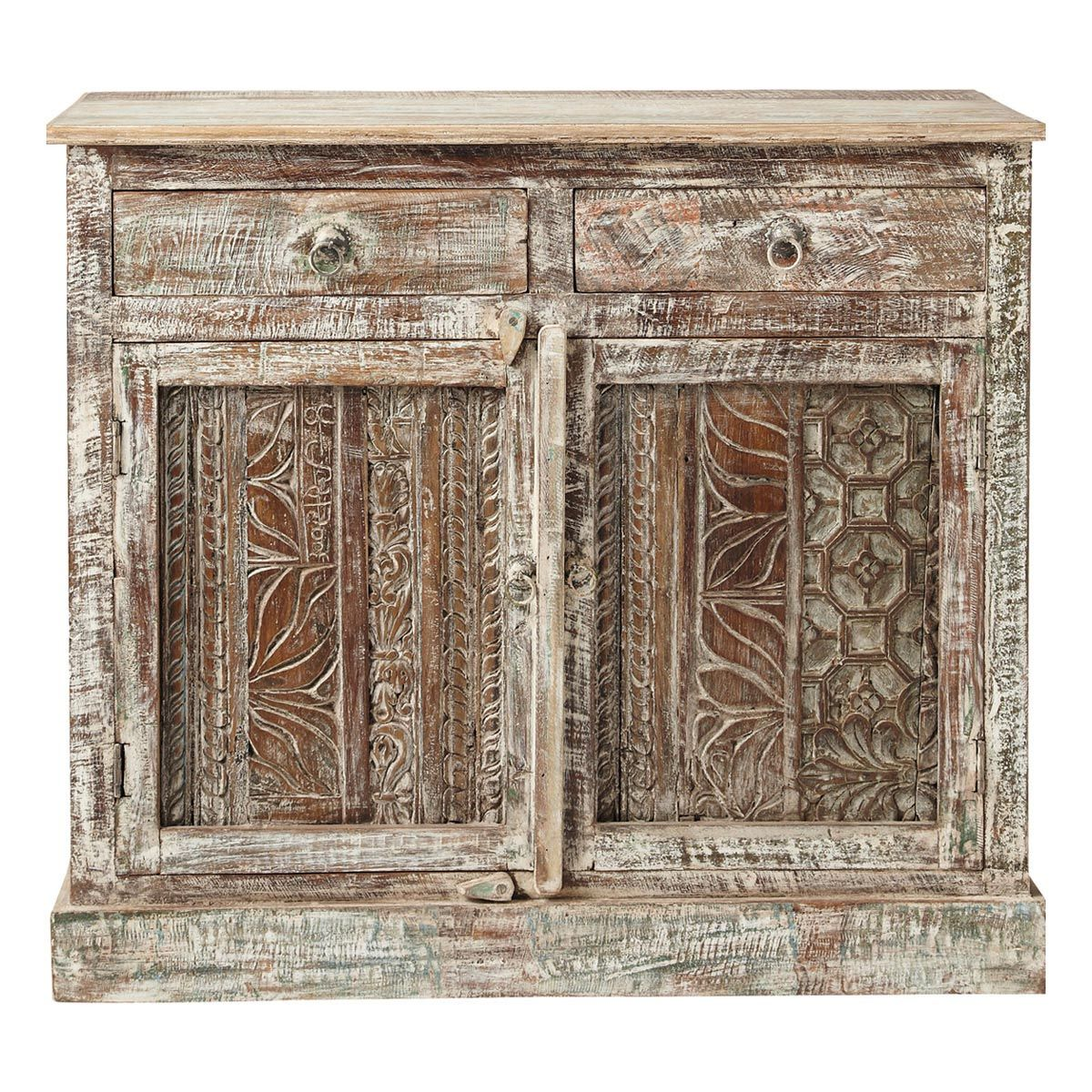 Credenze Maison Du Monde Recycled Wood Carved Indian Sideboard W 95cm Karma