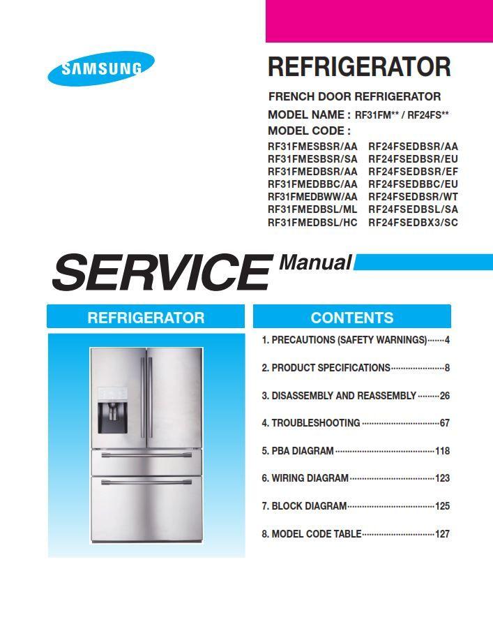 Samsung RF24FSEDBSR RF24FSEDBBC RF24FSEDBSL RF24FSEDBX3 Refrigerator ...