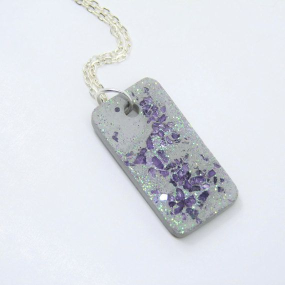 Necklace glass concrete - violet - gift | Pinterest | Gliederkette ...