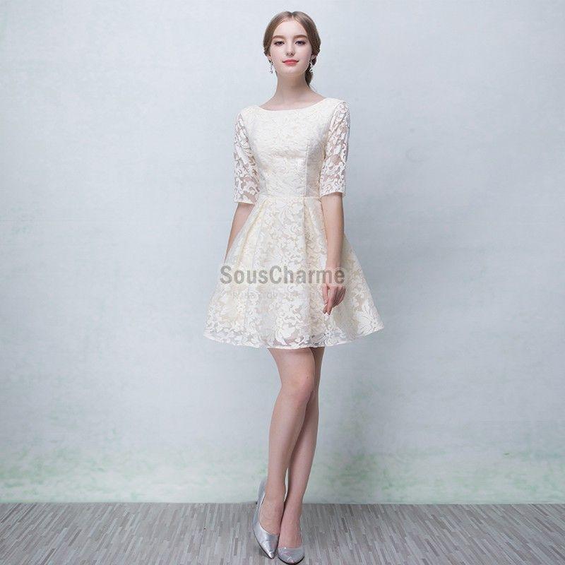 86c17ac4b39ad Chic robe demoiselle d honneur pas cher courte champagne pour mariage en  dentelle manche mi-longue