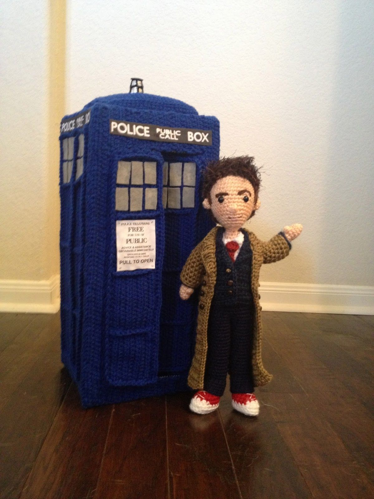 Crocheted versions of ALL of the Doctors AND the Tardis ...