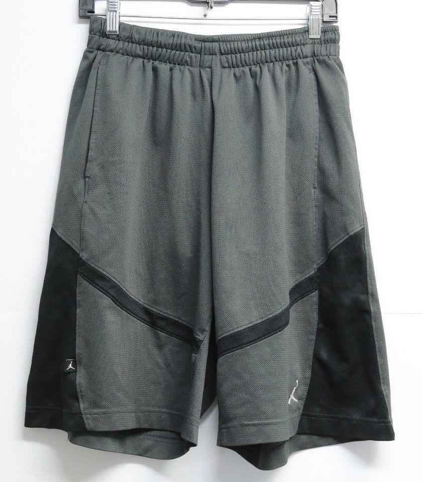 Mens nike dri fit air jordan basketball shorts grey black