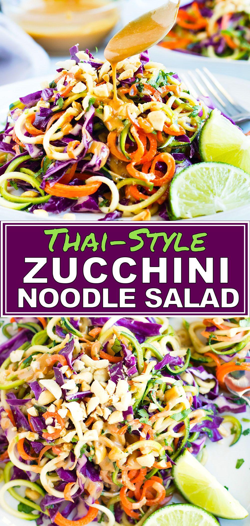 Thai Zucchini Noodle Salad | Keto + Vegan