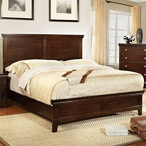 Furniture of America Pasha Platform Bed, Queen, Brown Cherry Finish ...