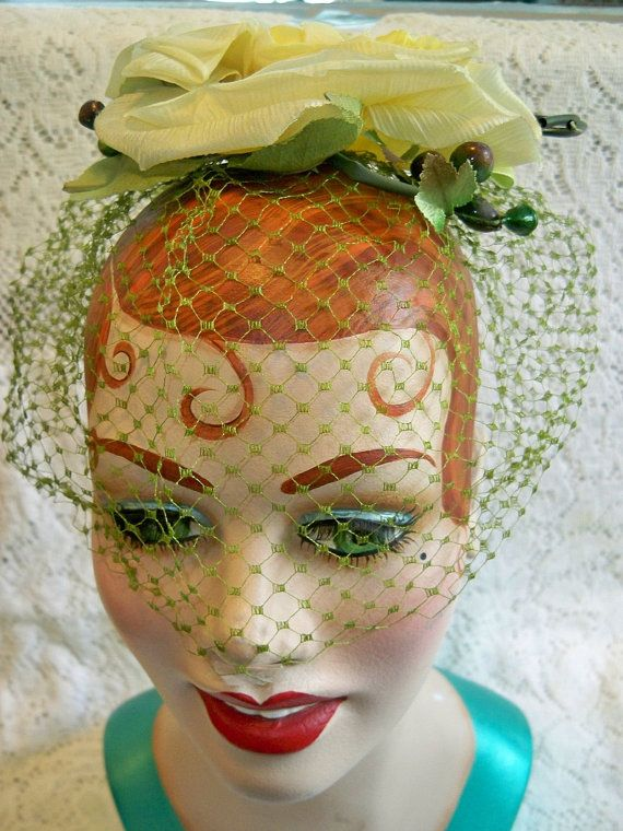 Vintage 1950s Ladies Yellow Rose Fascinator Hat Veil Millinery