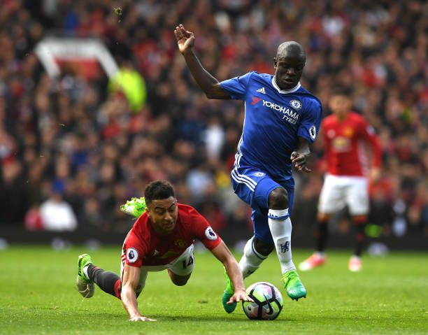 Jesse Lingard Of Manchester United And N Golo Kante Of Chelsea Battle For Possession During The Premier League Match Manchester United Ready To Play Manchester