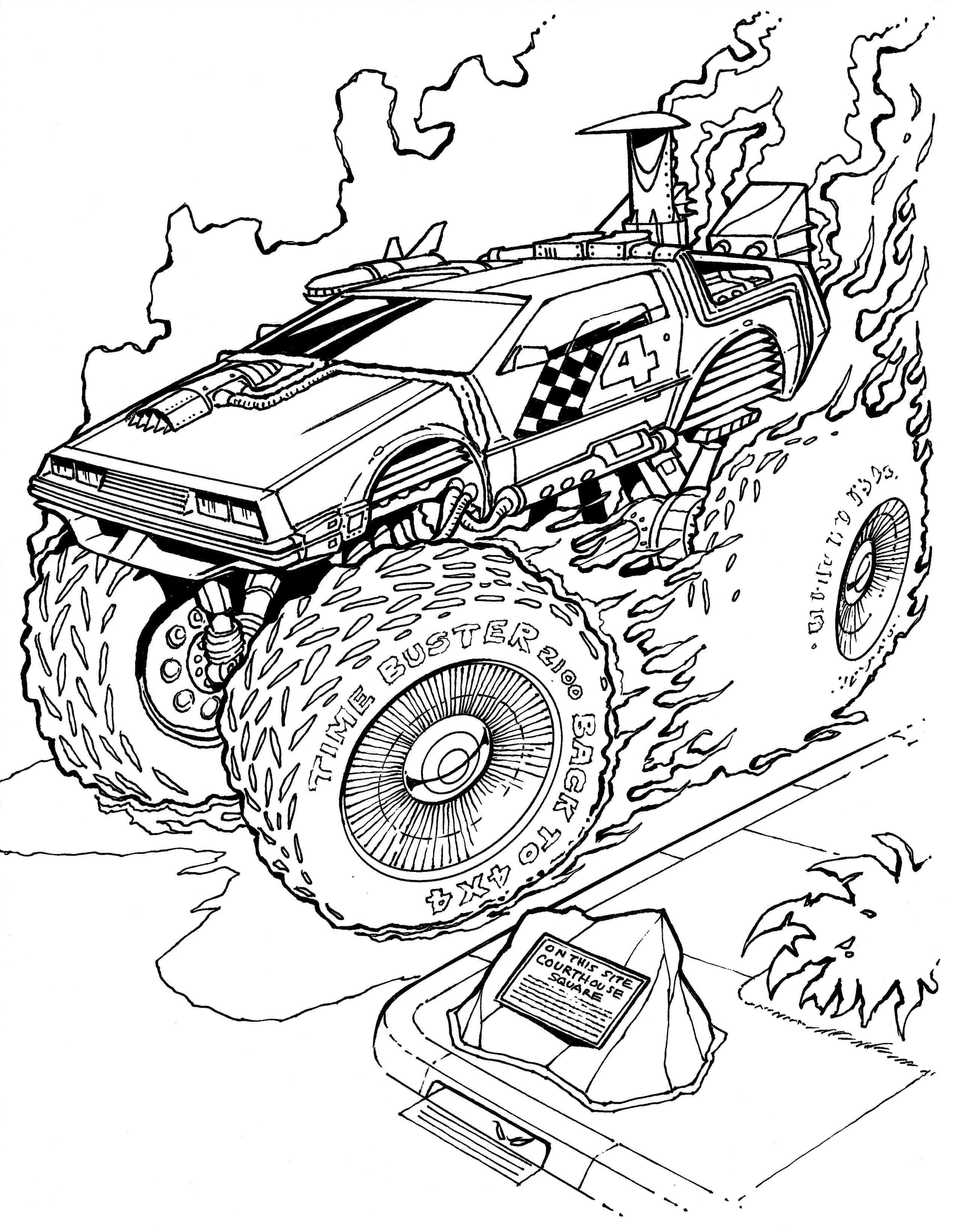 Fireball Hollywood Muscle Coloring Book Monster Truck Coloring Pages Coloring Books Truck Coloring Pages