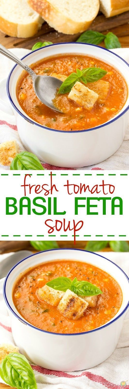 This fresh tomato soup is kicked up a notch with fresh basil and feta cheese and dairy free! Easy to make and delicious!!