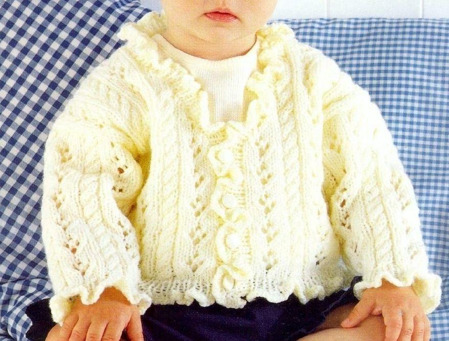 PDF Digital Vintage Knitting Pattern Baby Childrens Cardigan Jacket ...