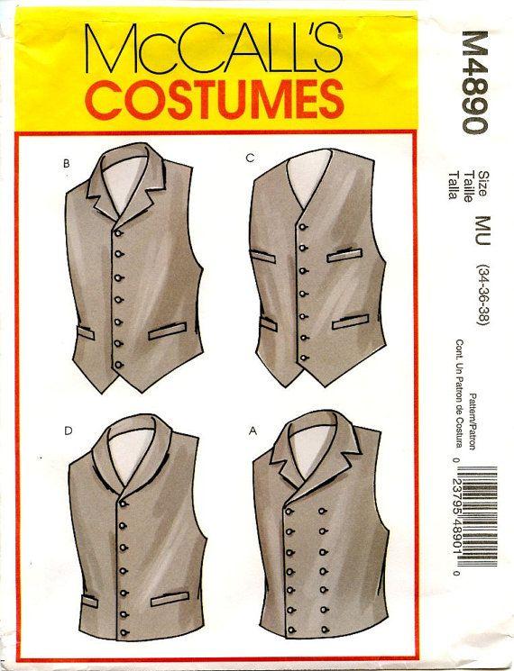 McCalls M4890 Men\'s Vintage Lined Vest Costume Uncut OOP Sewing ...