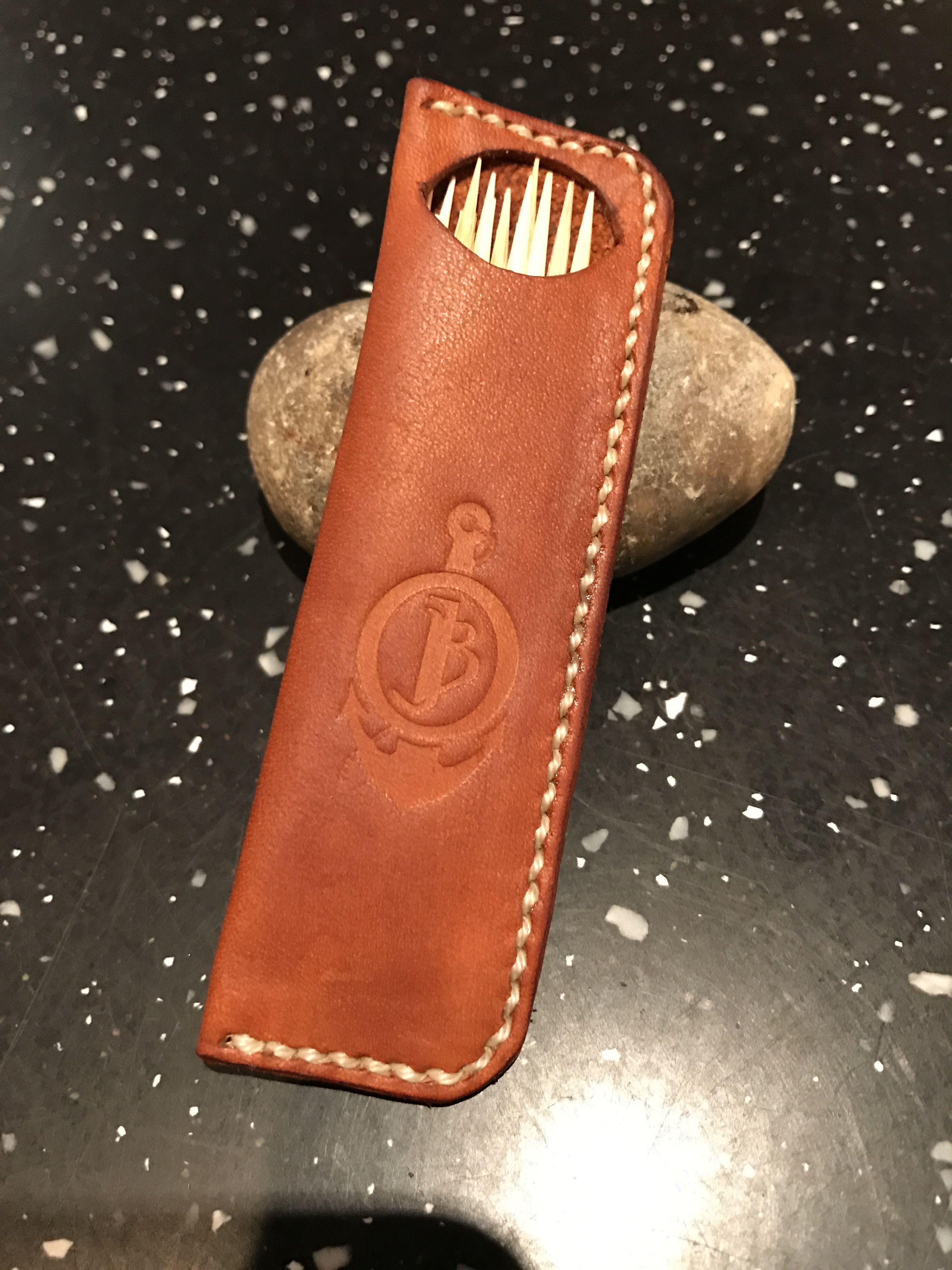 Leather toothpick holder