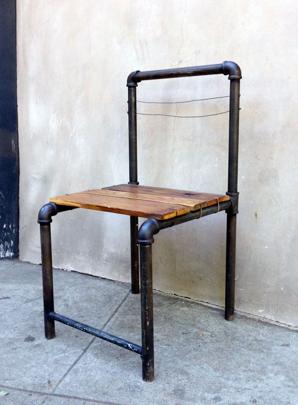 Pipe Chair Office Upstairs Pinterest Pipes, Homemade desk - outdoor k che ikea