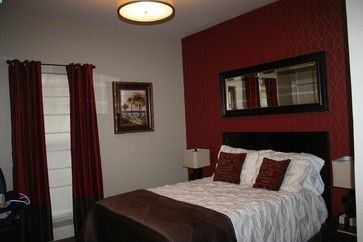 Red Accent Wall Textured Paint Able Wall Paper Red Bedroom