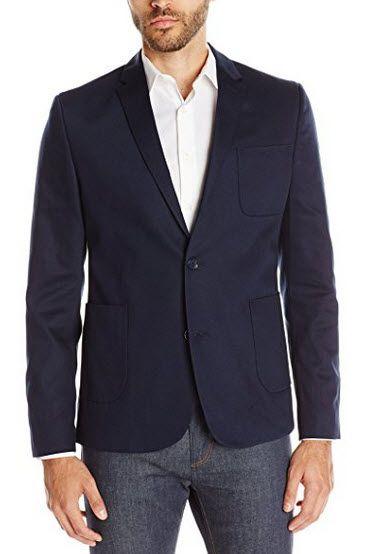 Ben Pique Sherman Woven Men's Navy Blazer Blazers Blue xwaxOrvq