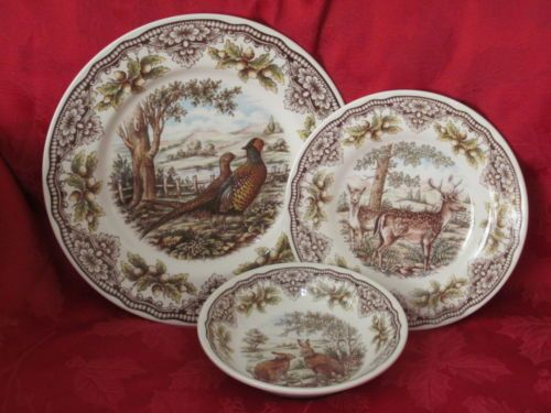 The Victorian English Pottery Pheasant Woodland 18 PC Dinnerware Serv 6 12 Set | eBay & The Victorian English Pottery Pheasant Woodland 18 PC Dinnerware ...