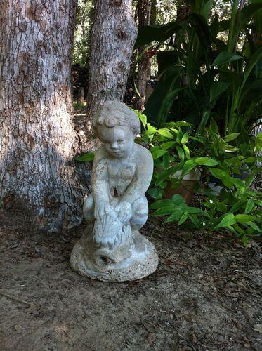 Old Garden Statue: Vintage CHILD RIDING DOLPHIN FISH Concrete Cement Garden