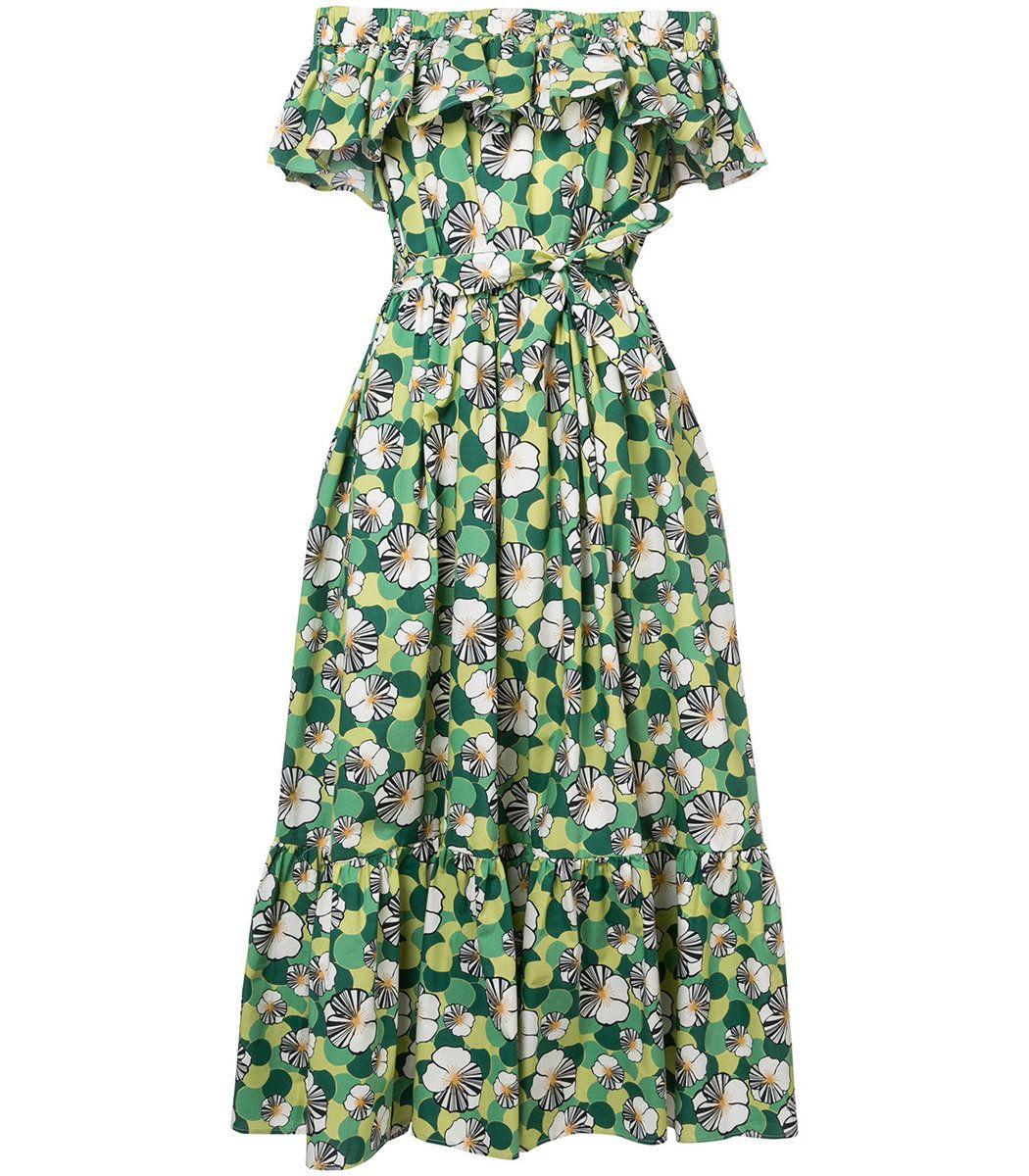 95907af1a195 LA-DOUBLE-J Green Multicolor Floral Shift Off Shoulder Dress.  la-double-j   cloth