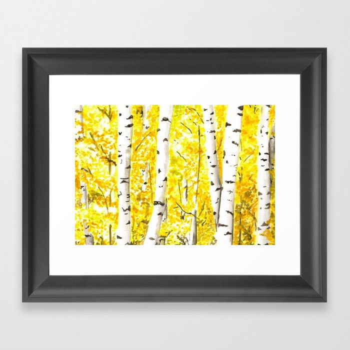 Buy Yellow Aspen Trees Watercolor art Painting Yellow Birches wall ...