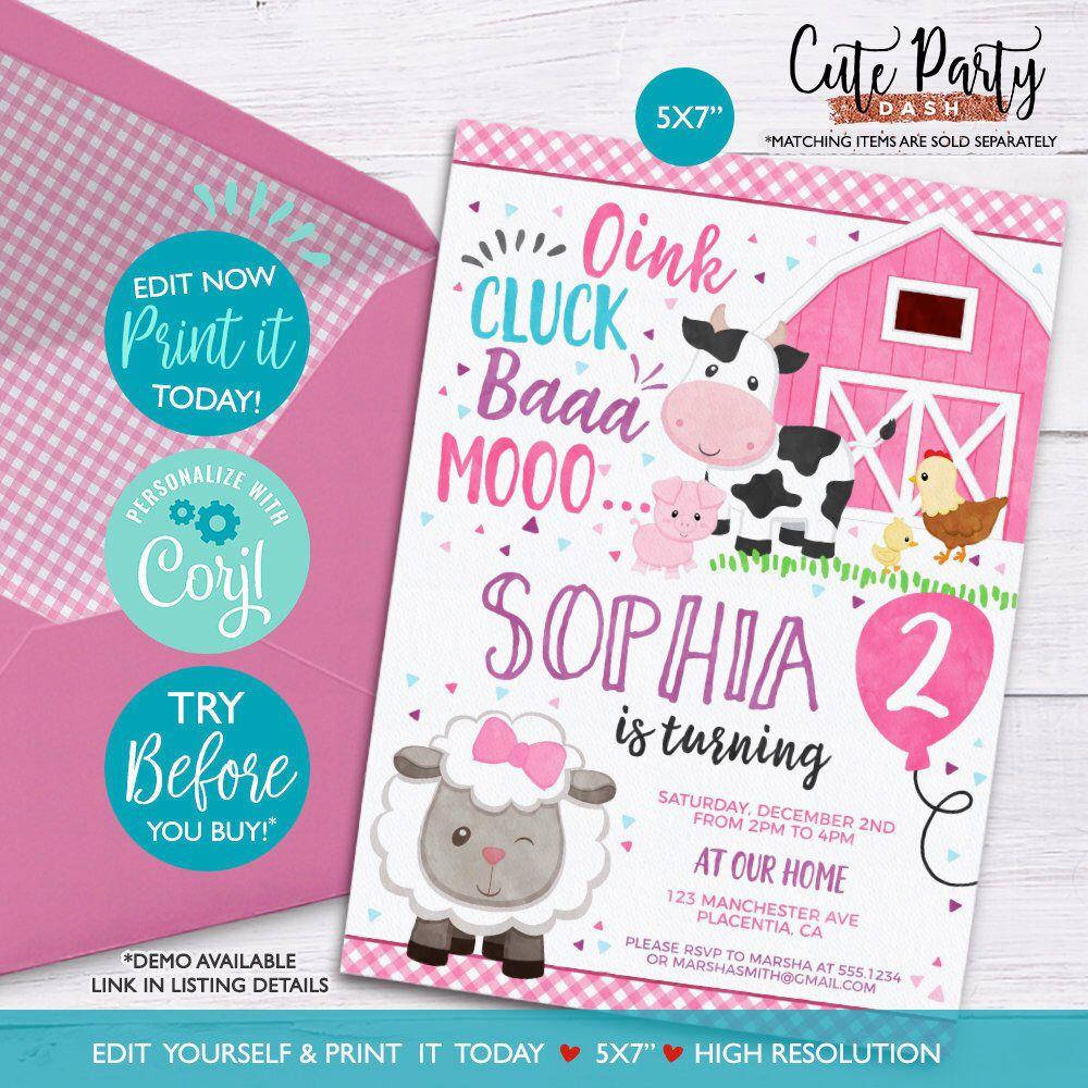 12 x Personalised Farm Animal Invites Birthday Party Invitations Envelopes A