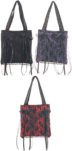 Loli Lace Bag Black Red Or Purple Satin With Overlay Measurements