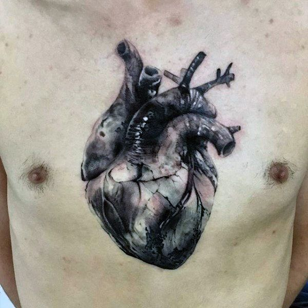 George Floyd Chest Tattoo: Heart Tattoo, Realistic Heart