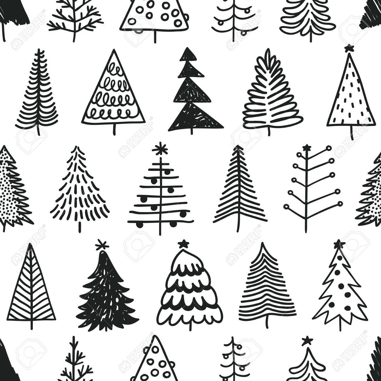 Christmas Illustration In 2020 Christmas Tree Drawing Tree Doodle Christmas Doodles