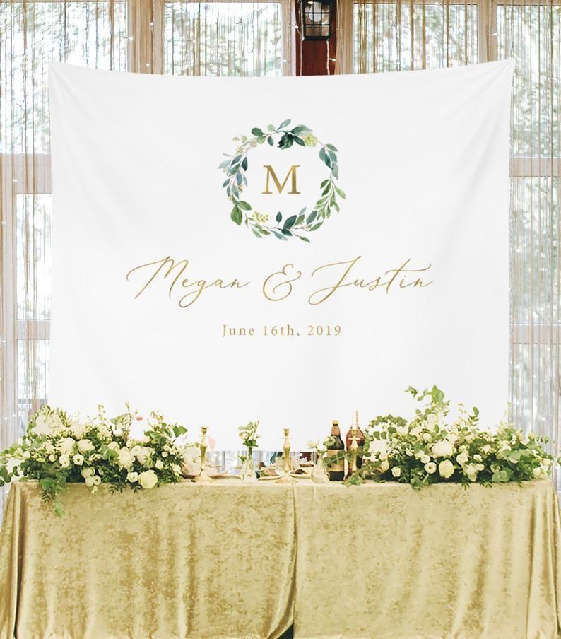 Personalized Wedding Backdrop For Reception Monogram Backdrop Sweetheart Table Backdrop Rusti In 2020 Sweetheart Table Backdrop Wedding Banner Rustic Wedding Banner