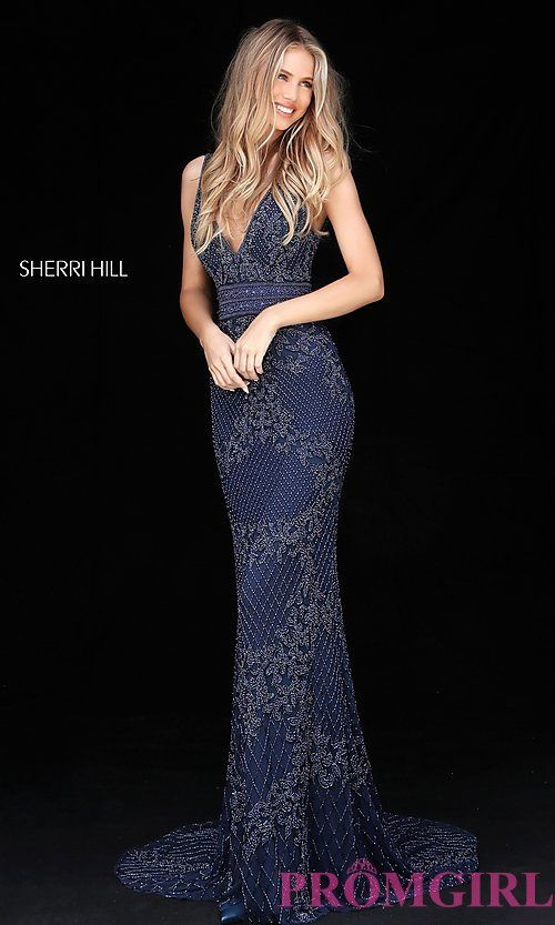 007ccda651e Long Sherri Hill Beaded V-Neck Prom Dress