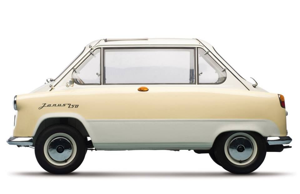 1958 Zundapp Janus 750 (j) Built in Germany and named after the Greek God JANUS, who looked both forward and back, this car has two doors - one in the front and one in the rear.