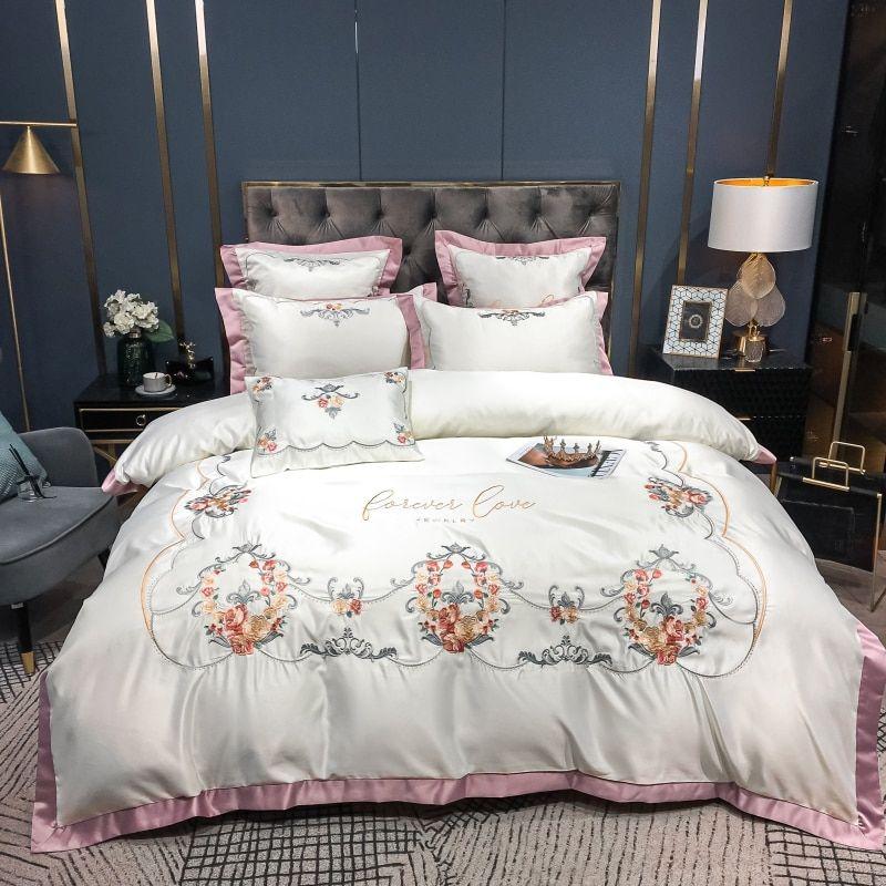 جديد فاخر الأبيض 60s الحرير الحرير طقم سرير قطني زهرة التطريز حاف الغطاء أغطية سرير المجهزة ورقة المخدة المنسوجات المنزلية اشتر من جهات البيع Home Bed Blanket