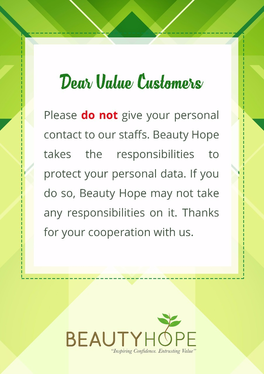 Just a friendly reminder to our customers, please avoid giving your personal contact to our staffs, for Beauty Hope may not take any responsibilities on it. Thank you very much for your cooperation with us!  Contact us at: (Waterloo Street): Tel: +65 6883 2293 | Hp: +65 8168 5199 Ang Mo Kio Avenue: Tel: +65 6458 2293 | Hp: +65 8228 2293 or visit our website at http://www.beautyhope.com.sg/ for inquiries and for your appointment today.  #beautyhope #beautysg #beautyhopesg #beauty #skincare…