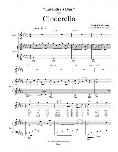 Cinderella Lavender S Blue Duet Piano Plateau Sheet Music