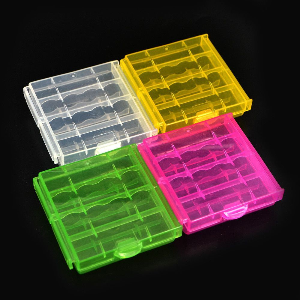 4 pcs/lot Coloful Battery Holder Case 4 AA AAA Hard Plastic Storage Box Cover For 14500 10440 Battery