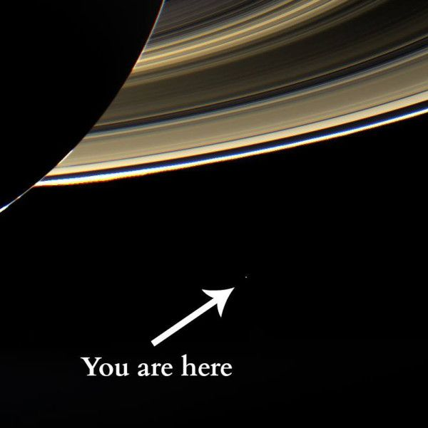 Spectacular image from the Cassini spacecraft near Saturn shows Earth from 898 million miles away #palebluedot