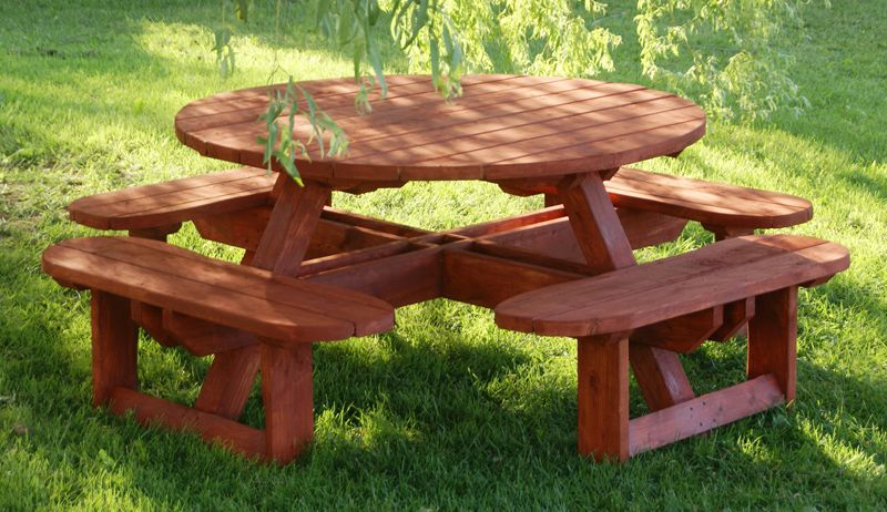 Building Plans For Picnic Table Bench DIY Woodworking Projects - Round picnic table with benches